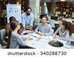 happy modern office workers... | Shutterstock . vector #340288730