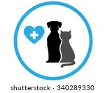 round veterinary icon with pet... | Shutterstock . vector #340289330