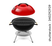 bbq grill with opened red cap... | Shutterstock .eps vector #340292939