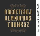 decorative serif latin font.... | Shutterstock .eps vector #340293608