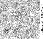 doodle black and white abstract ... | Shutterstock .eps vector #340298678