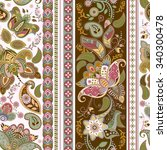 floral seamless pattern. stripe ... | Shutterstock . vector #340300478