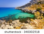 beautiful sea bay on rhodes | Shutterstock . vector #340302518