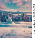 colorful winter sunrise in the... | Shutterstock . vector #340304654