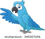 cartoon funny blue macaw... | Shutterstock . vector #340307696