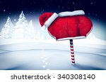 santa sign in north pole | Shutterstock . vector #340308140