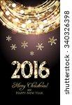 christmas card  golden lights... | Shutterstock .eps vector #340326398
