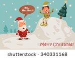 santa and elf in merry...   Shutterstock .eps vector #340331168