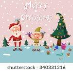 santa and elf in merry... | Shutterstock .eps vector #340331216