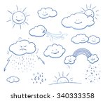 set of cute cartoon clouds and...