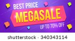 mega sale banner. sale and... | Shutterstock .eps vector #340343114