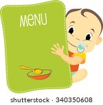 baby boy is holding a banner | Shutterstock .eps vector #340350608