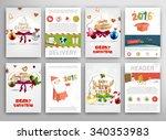 christmas vector vintage cards... | Shutterstock .eps vector #340353983
