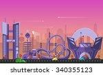 website hero image in flat... | Shutterstock .eps vector #340355123