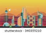 website hero image in flat... | Shutterstock .eps vector #340355210