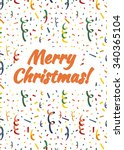 merry christmas card cover with ... | Shutterstock .eps vector #340365104