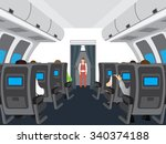 interior of the plane.... | Shutterstock .eps vector #340374188