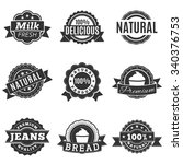 icons in gray label  quality ... | Shutterstock .eps vector #340376753