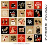 christmas advent calendar. hand ... | Shutterstock .eps vector #340380320