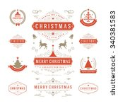 christmas labels and badges... | Shutterstock .eps vector #340381583