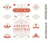 christmas labels and badges... | Shutterstock .eps vector #340381604