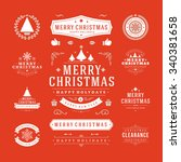christmas labels and badges... | Shutterstock .eps vector #340381658