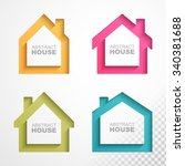 set of colorful houses icons.... | Shutterstock .eps vector #340381688