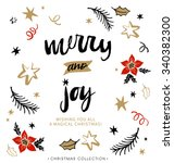 merry and joy. christmas... | Shutterstock .eps vector #340382300