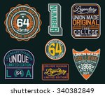 college vector label and print... | Shutterstock .eps vector #340382849