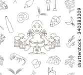 beer seamless pattern. linear...   Shutterstock .eps vector #340383209