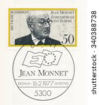 Small photo of GERMANY - CIRCA 1977: A postmark printed in Germany, shows Jean Monnet (1888-1979), French proponent of unification of Europe, became first Honorary Citizen of Europe in Apr. 1976, circa 1977