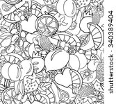 fruits black and white seamless ... | Shutterstock .eps vector #340389404