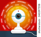 white webcam over red... | Shutterstock .eps vector #340397558