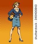 businesswoman superhero woman... | Shutterstock .eps vector #340400843
