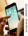 a man hand holding screen apple ... | Shutterstock . vector #340401929