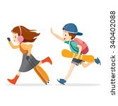 boy and girl running to travel