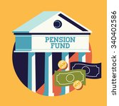 cool vector pension fund...   Shutterstock .eps vector #340402586
