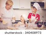grandmother with grandchildren... | Shutterstock . vector #340408973