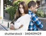 young married couple in the... | Shutterstock . vector #340409429