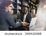young businesswoman showing... | Shutterstock . vector #340410488