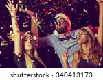three young people blowing... | Shutterstock . vector #340413173