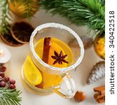 glass of mulled cider by... | Shutterstock . vector #340422518