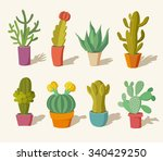vector collection of cactus in... | Shutterstock .eps vector #340429250