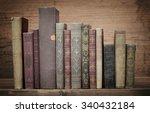 old books on wooden shelf. | Shutterstock . vector #340432184