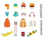 winter equipment icons set ... | Shutterstock .eps vector #340437593