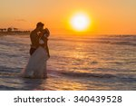 just married young couple at... | Shutterstock . vector #340439528