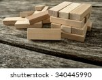blank wooden block leaning on a ... | Shutterstock . vector #340445990