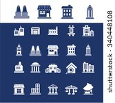 buildings  houses  icons  signs ... | Shutterstock .eps vector #340448108
