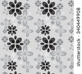 black and white floral  pattern   Shutterstock .eps vector #340449908