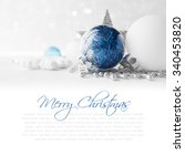 blue and white xmas ornaments... | Shutterstock . vector #340453820
